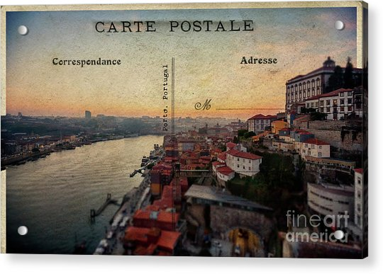 sunset view of the Douro river and old part of  Porto, Portugal Acrylic Print