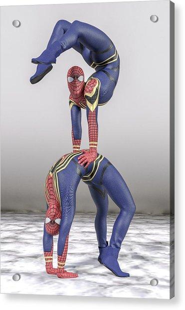 Superhero Acroyoga Pose One Acrylic Print