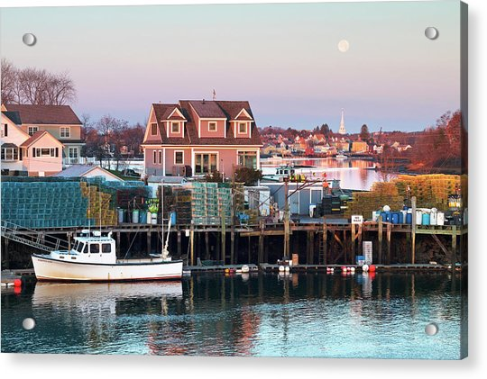 Supermoon Over Shapleigh Island Portsmouth Acrylic Print by Eric Gendron