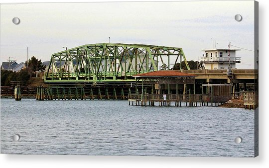 Acrylic Print featuring the photograph Surf City Swing Bridge by Cynthia Guinn