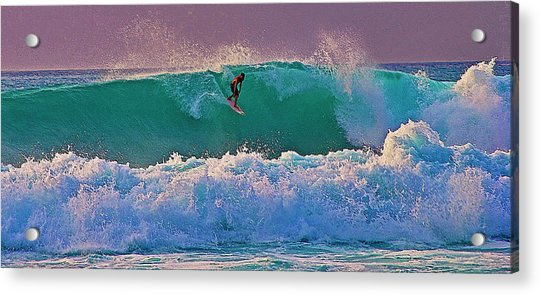 Surfing A-bay At Sunset Acrylic Print