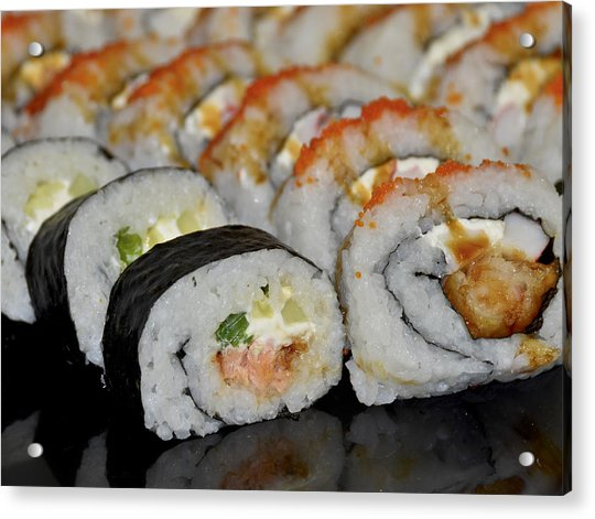 Acrylic Print featuring the photograph Sushi Rolls From Home by Carolyn Marshall
