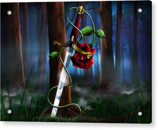 Sword And Rose Acrylic Print