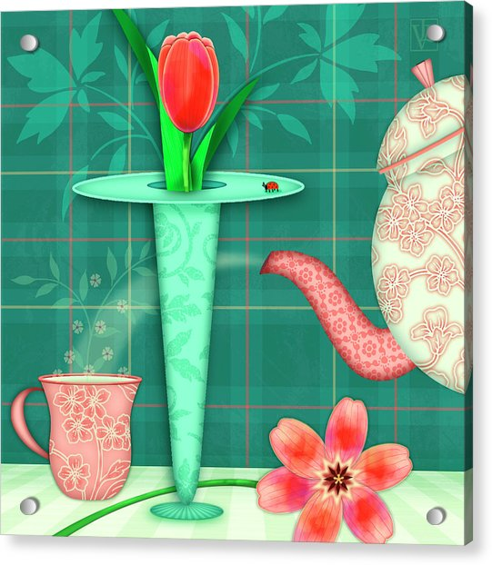 T Is For Two Tulips With Tea Acrylic Print