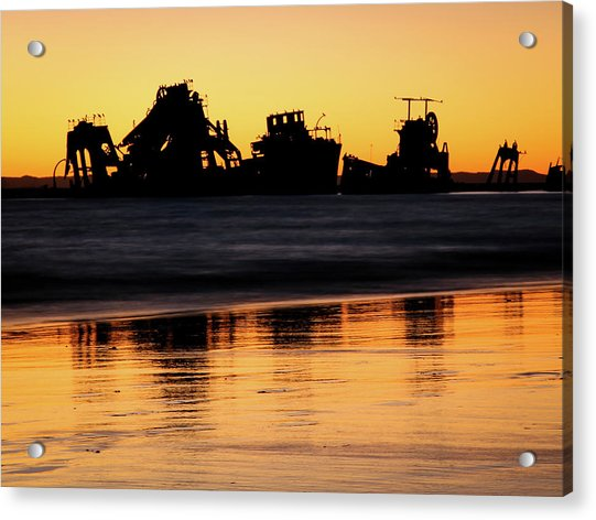 Tangalooma Wrecks Sunset Silhouette Acrylic Print
