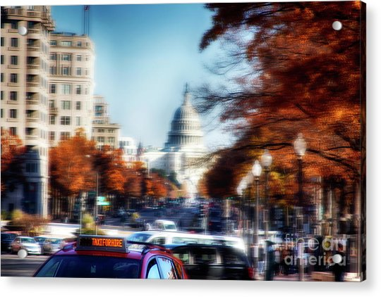 Taxi For Hire  Acrylic Print by Steven Digman