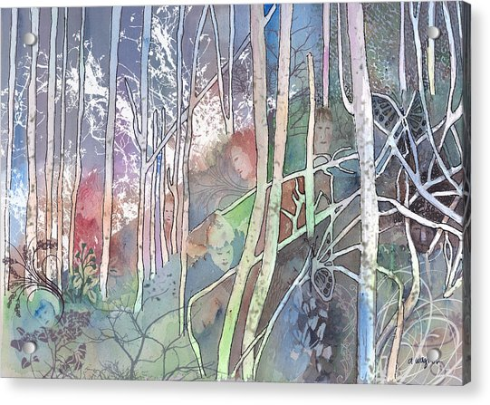 Ten Faces In The Mystical Forest Acrylic Print