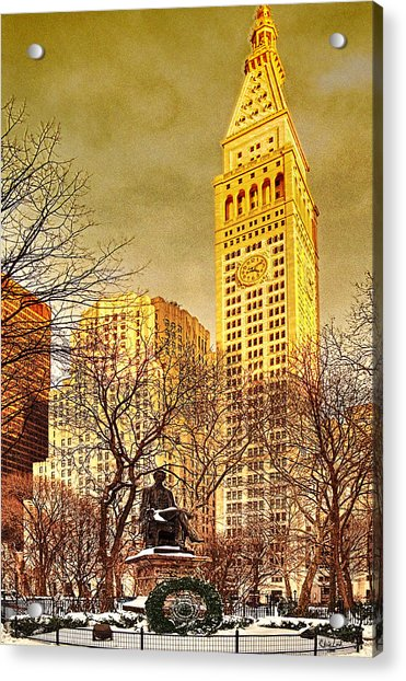 Acrylic Print featuring the photograph Ten Past Four At Madison Square Park by Chris Lord
