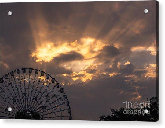 Texas Star Ferris Wheel And Sun Rays Acrylic Print
