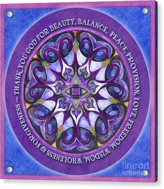 Thank You God Mandala Prayer Acrylic Print