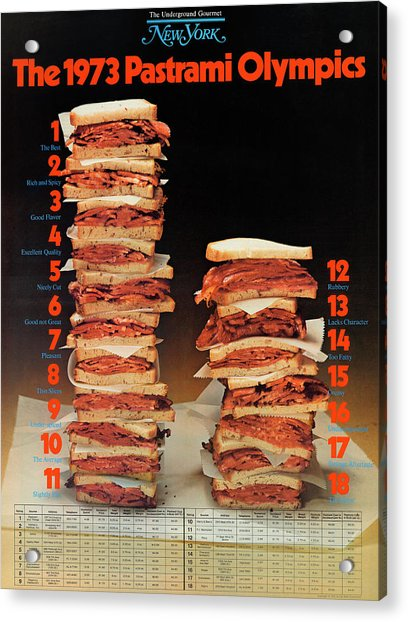 Acrylic Print featuring the photograph The 1973 Pastrami Olympics by New York Magazine