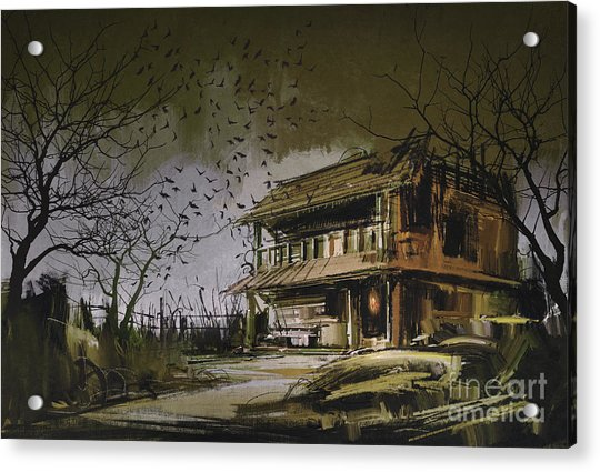 Acrylic Print featuring the painting The Abandoned House by Tithi Luadthong