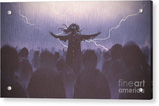 Acrylic Print featuring the painting The Black Wizard by Tithi Luadthong