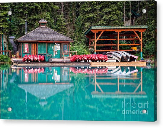 The Boat House At Emerald Lake In Yoho National Park Acrylic Print