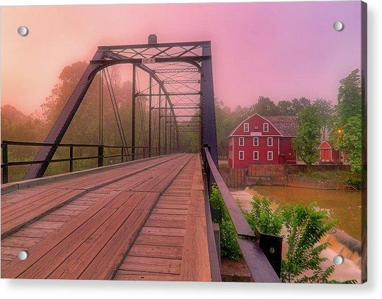 Acrylic Print featuring the photograph The Bridge To War Eagle Mill - Arkansas - Historic - Sunrise by Jason Politte