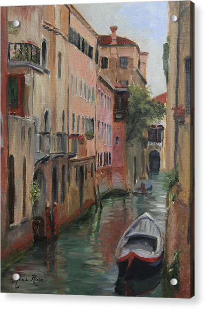 The Canal Less Travelled Acrylic Print by Anna Rose Bain