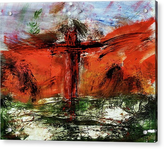 Acrylic Print featuring the mixed media The Crucifixion #1 by Michael Lucarelli