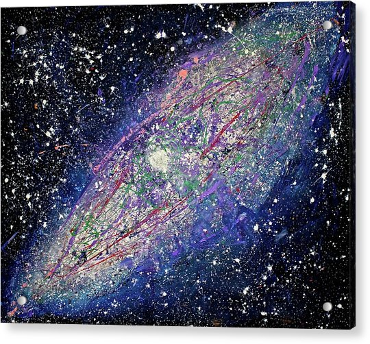 Acrylic Print featuring the painting the Galaxy  by Michael Lucarelli