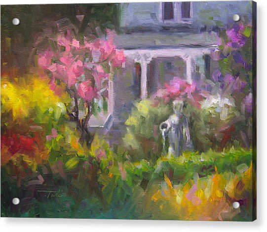 Acrylic Print featuring the painting The Guardian - Plein Air Lilac Garden by Talya Johnson