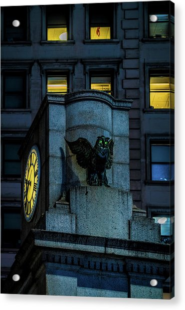 Acrylic Print featuring the photograph The Herald Square Owl by Chris Lord