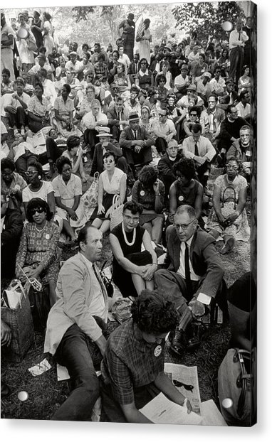 The March On Washington   A Crowd Of Seated Marchers Acrylic Print