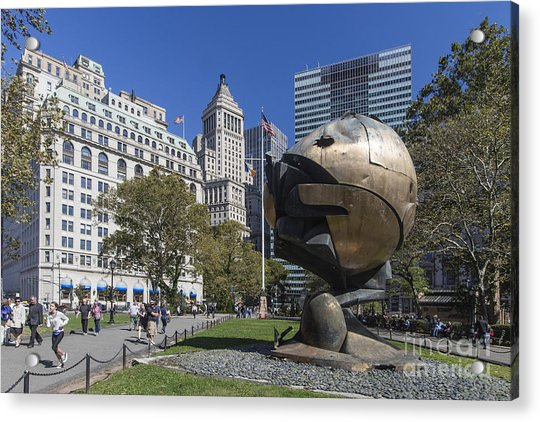 Acrylic Print featuring the photograph The Sphere Batterie Park Nyc by Juergen Held