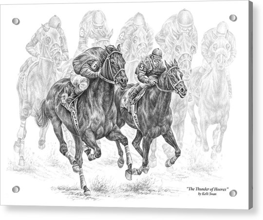 The Thunder Of Hooves - Horse Racing Print Acrylic Print