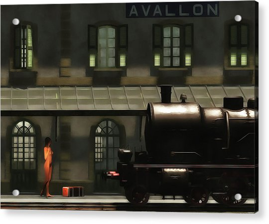 Acrylic Print featuring the painting The Train In The Morning by Jan Keteleer
