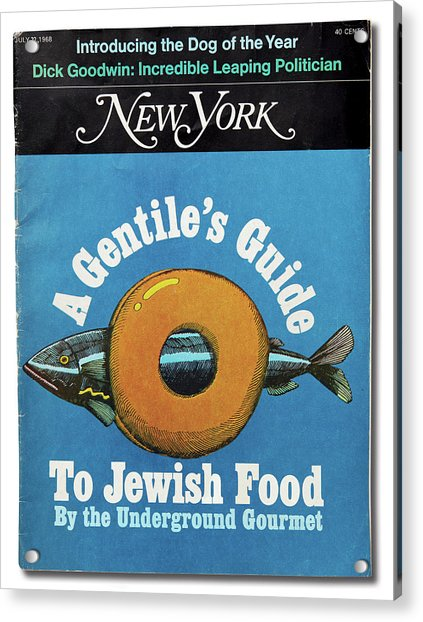 Acrylic Print featuring the mixed media The Underground Gourmet Guide To Jewish Food by Milton Glaser