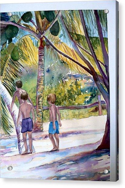 Three Boys Climbing Acrylic Print