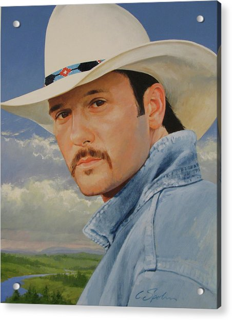 Acrylic Print featuring the painting Tim Mcgraw by Cliff Spohn