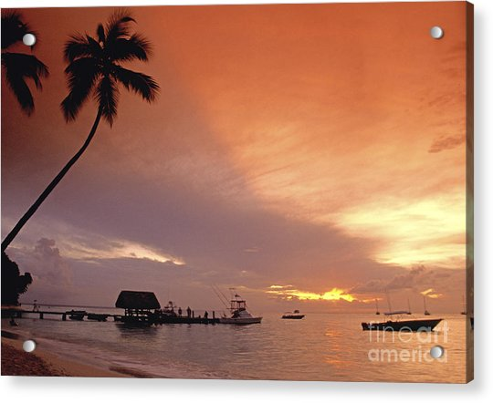 Acrylic Print featuring the photograph Tobago, Pigeon Point Sunset, Caribbean Sea, by Juergen Held