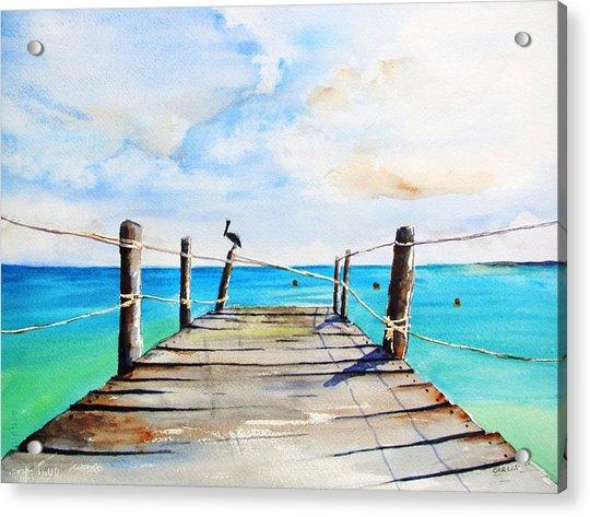 Top Of Old Pier On Playa Paraiso Acrylic Print