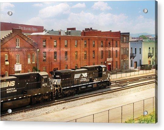 Train - Engine -  Now Arriving In Roanoke Virginia Acrylic Print