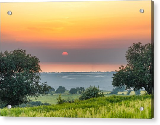 Acrylic Print featuring the photograph Sicilian Countryside At Sunset by Mirko Chessari