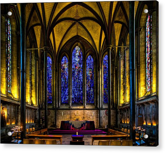 Acrylic Print featuring the photograph Trinity Chapel Salisbury Cathedral by Chris Lord