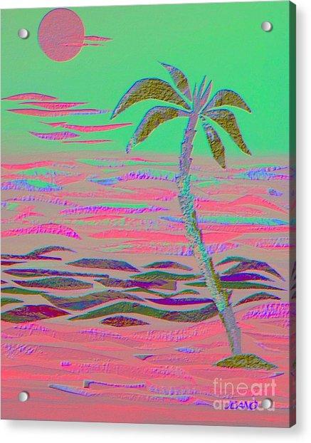 Hot Pink Coconut Palm Acrylic Print