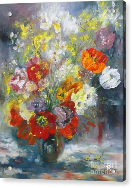 Tulips, Narcissus And Forsythia Acrylic Print
