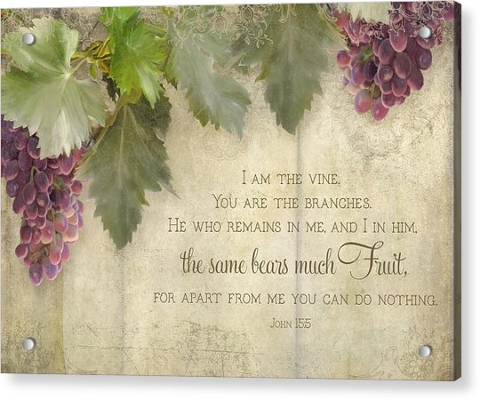 Tuscan Vineyard - Rustic Wood Fence Scripture Acrylic Print