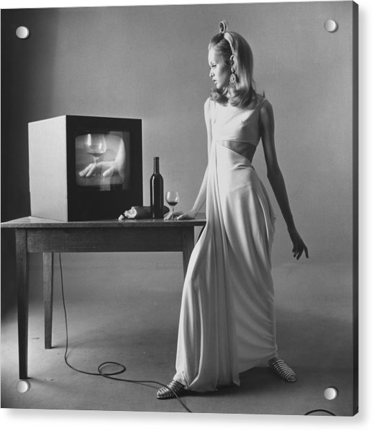 Twiggy With Television Monitor Acrylic Print