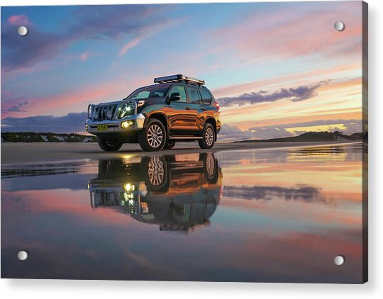 Twilight Beach Reflections And 4wd Car Acrylic Print