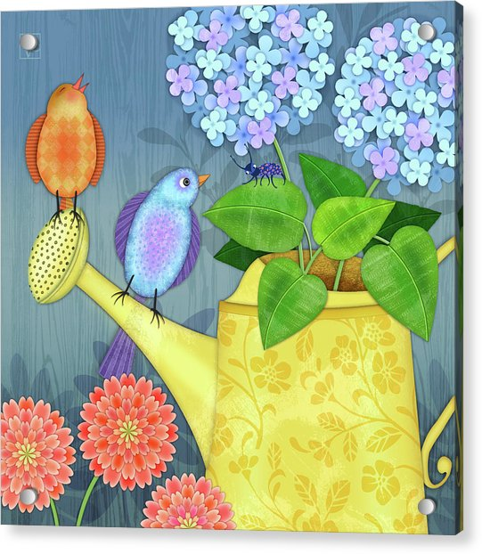 Two Birds On A Watering Can Acrylic Print