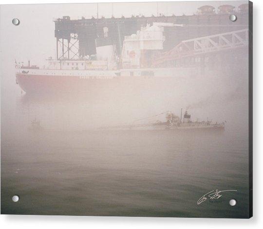 Two Harbors Fog Ship II Acrylic Print