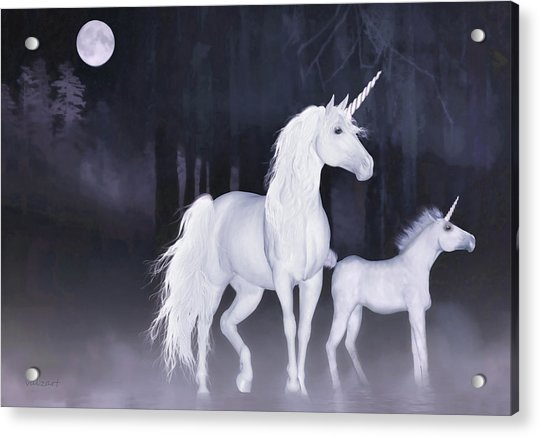 Acrylic Print featuring the painting Unicorns In The Mist by Valerie Anne Kelly