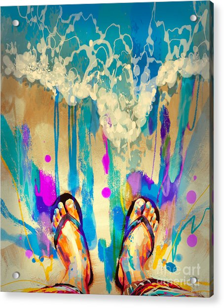 Acrylic Print featuring the painting Vacation Time by Tithi Luadthong