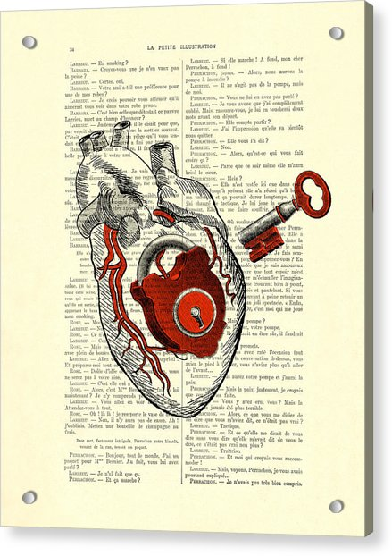 Valentine's Day Gift, Heart With Key Acrylic Print