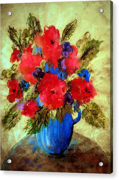 Acrylic Print featuring the painting Vase Of Delight-still Life Painting By V.kelly by Valerie Anne Kelly