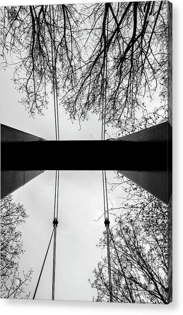 Vertical Bridge In Bw Acrylic Print by Nikos Stavrakas