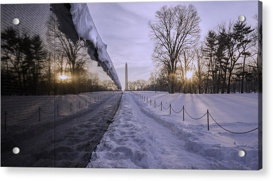 Vietnam Vetrans Memorial In Snow Acrylic Print by Michael Donahue