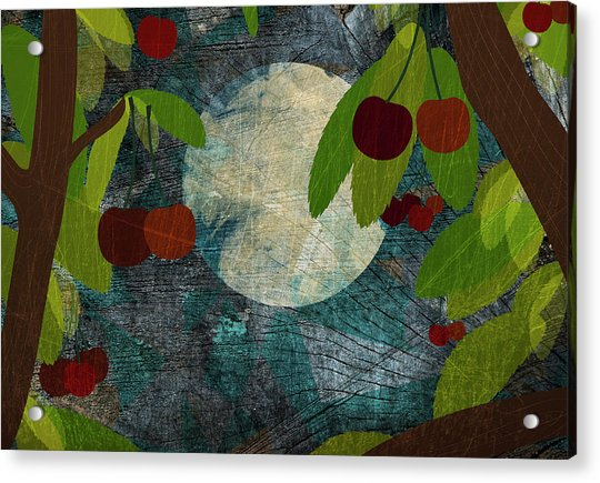 View Of The Moon And Cherries Growing On Trees At Night Acrylic Print
